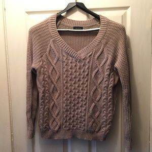NWOT Lord & Taylor Taupe Brown Cable Knit Sweater